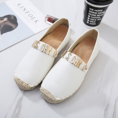Moschino Logo Women Flat Shoes White
