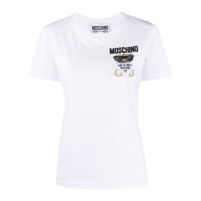 Moschino Micro Teddy Bear Women Short Sleeves Slim T-Shirt White