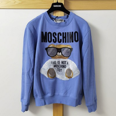 Moschino Micro Teddy Bear Women Long Sleeves Sweater Sky Blue