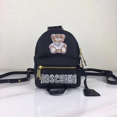 Moschino Brushstroke Teddy Bear Women Mini Leather Backpack Black