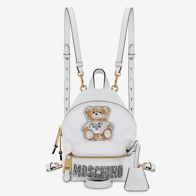 Moschino Brushstroke Teddy Bear Women Mini Leather Backpack White