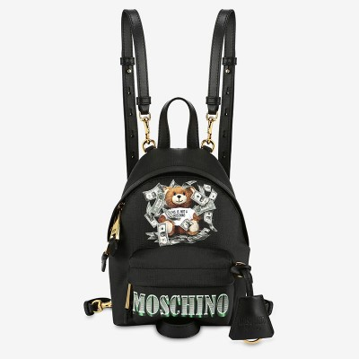Moschino Dollar Teddy Bear Women Mini Leather Backpack Black