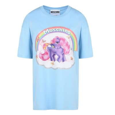 Moschino My Little Pony Women Short Sleeves T-Shirt Sky Blue