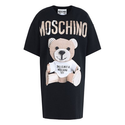 Moschino Paper Bear Women Short Sleeves Short Dress Black