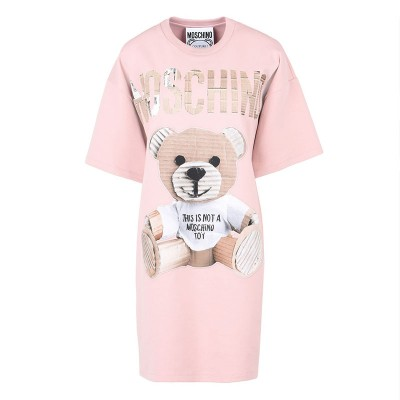 Moschino Paper Bear Women Short Sleeves Short Dress Pink