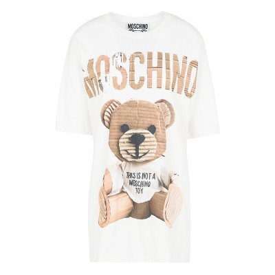 Moschino Paper Bear Women Short Sleeves T-Shirt White