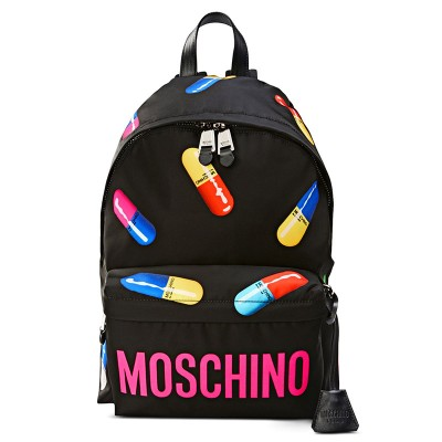 Moschino Casual Pills Women Large Techno Fabric Backpack Black
