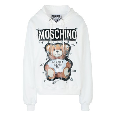 Moschino Safety Pin Teddy Women Long Sleeves Sweatshirt White