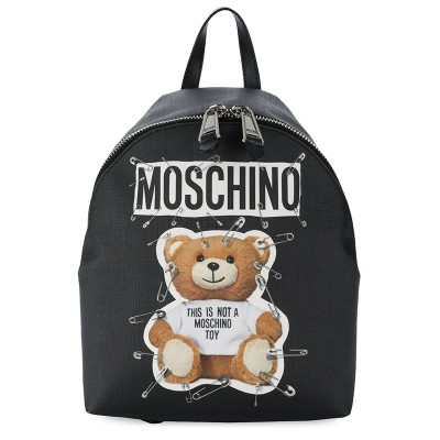 Moschino Safety Pin Teddy Women Medium Leather Backpack Black