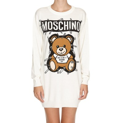 Moschino Safety Pin Teddy Women Long Sleeves Minidress White