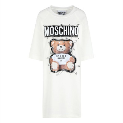 Moschino Safety Pin Teddy Women Short Sleeves Short Dress White