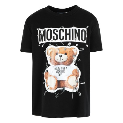 Moschino Safety Pin Teddy Women Short Sleeves Slim T-Shirt Black