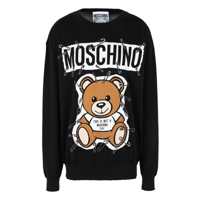Moschino Safety Pin Teddy Women Long Sleeves Sweater Black