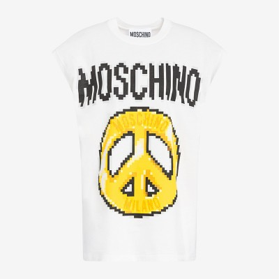 Moschino x The Sims Pixel Peace Women Sleeveless T-Shirt White