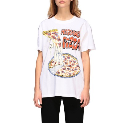 Moschino Pizza Women Short Sleeves T-Shirt White