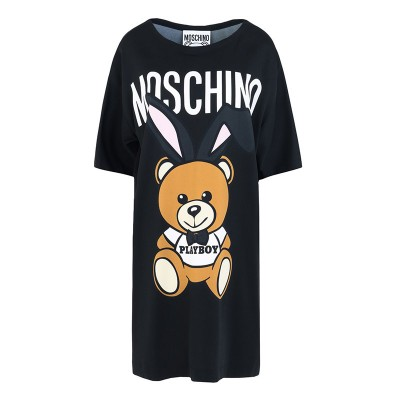 Moschino Playboy Bear Women Short Sleeves Short Dress Black