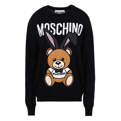 Moschino Playboy Bear Women Long Sleeves Sweater Black