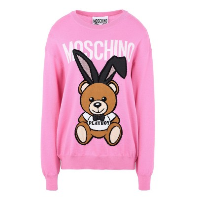 Moschino Playboy Bear Women Long Sleeves Sweater Pink