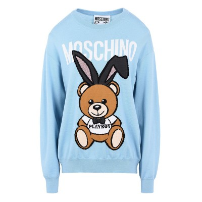 Moschino Playboy Bear Women Long Sleeves Sweater Sky Blue