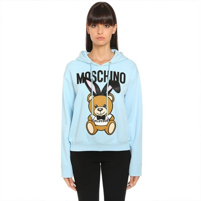 Moschino Playboy Bear Women Long Sleeves Sweatshirt Sky Blue