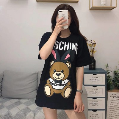 Moschino Playboy Bear Women Short Sleeves T-Shirt Black