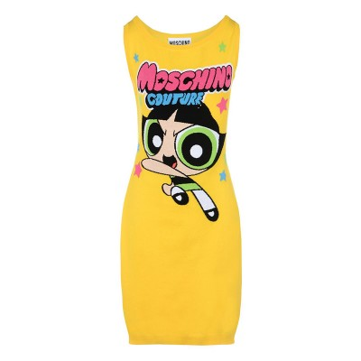 Moschino Powerpuff Girls Women Sleeveless Short Dress Yellow