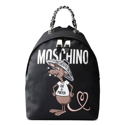 Moschino Rat A Porter Women Medium Leather Backpack Black