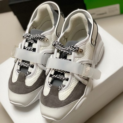 Moschino Roller Skates Teddy Sole Women Mesh Run Sneakers White