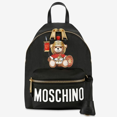 Moschino Roman Teddy Bear Women Leather Backpack Black