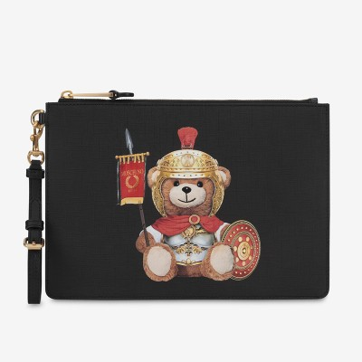 Moschino Roman Teddy Bear Women Leather Clutch Black