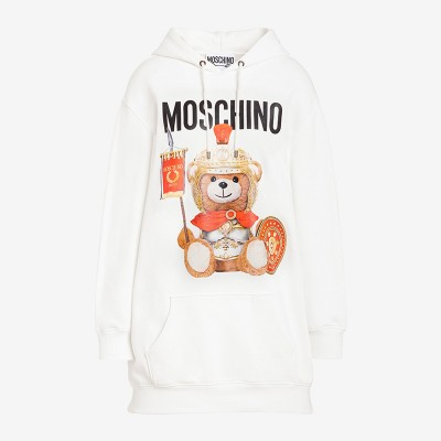Moschino Roman Teddy Bear Women Long Sleeves Fleece Dress White