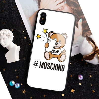 Moschino Selfie Teddy Bear iPhone Case White