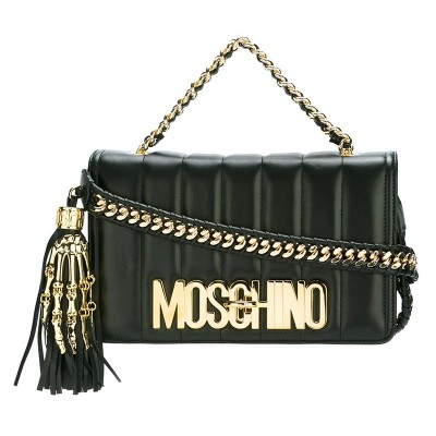Moschino Skeleton Hand Women Leather Shoulder Bag Black