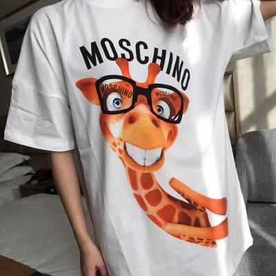 Moschino Smiley Giraffe Women Short Sleeves T-Shirt White