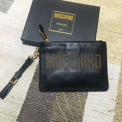 Moschino Studded Logo Women Leather Clutch Black