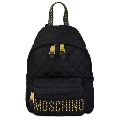 Moschino Studded Logo Women Quilted Techno Fabric Backpack Black