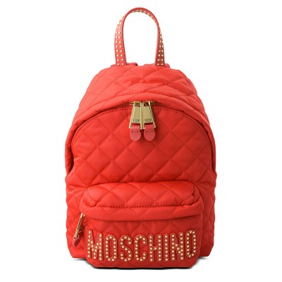 Moschino Studded Logo Women Quilted Techno Fabric Backpack Red
