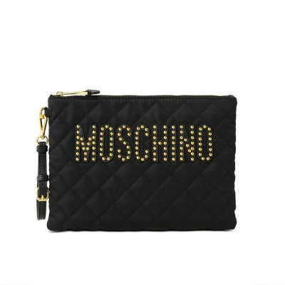 Moschino Studded Logo Women Quilted Techno Fabric Clutch Black