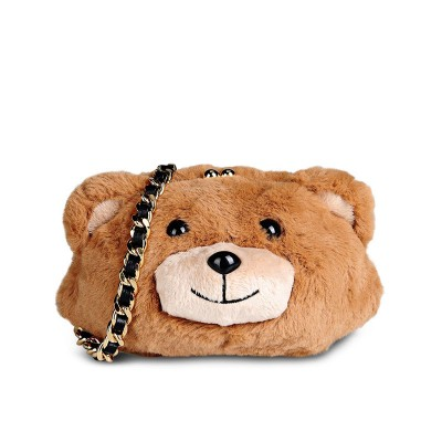 Moschino Teddy Bear Women Small Fur Shoulder Bag Brown
