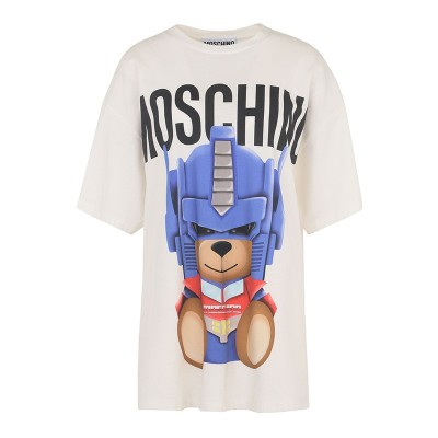 Moschino Transformer Bear Women Short Sleeves T-Shirt White