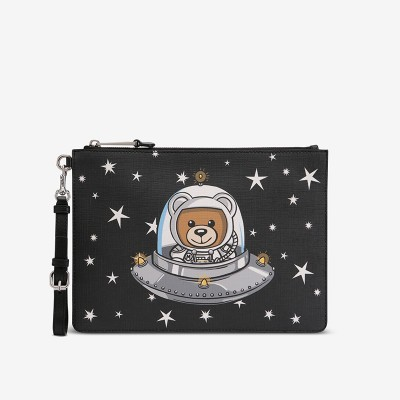 Moschino Ufo Teddy Women Leather Clutch Black