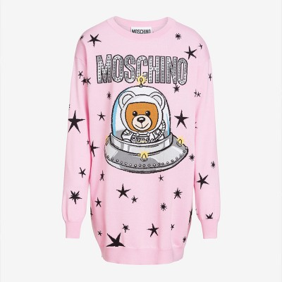 Moschino Ufo Teddy Women Long Sleeves Minidress Pink