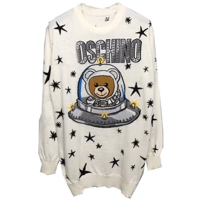 Moschino Ufo Teddy Women Long Sleeves Minidress White
