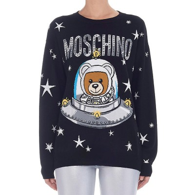 Moschino Ufo Teddy Women Long Sleeves Sweater Black