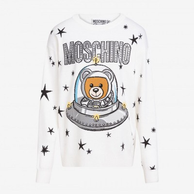 Moschino Ufo Teddy Women Long Sleeves Sweater White