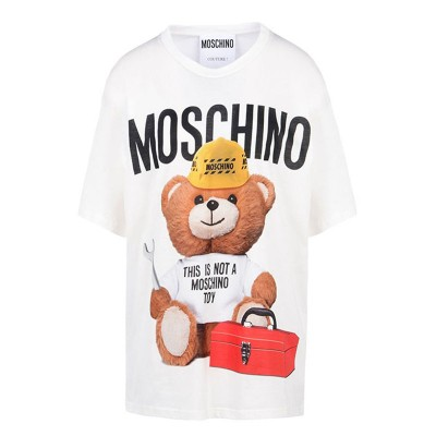 Moschino Worker Bear Women Short Sleeves T-Shirt White