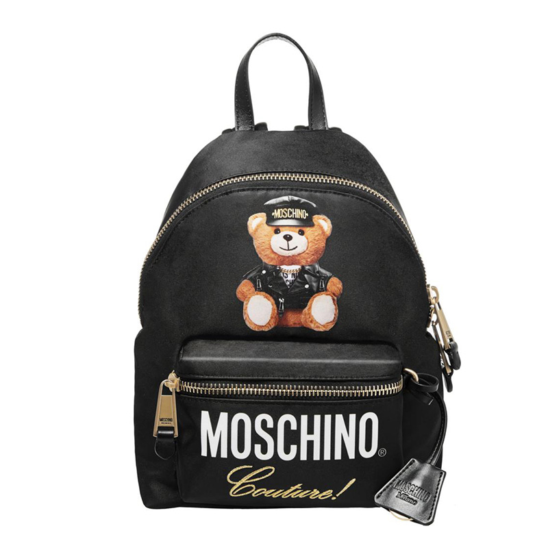 Moschino Loves Printemps Bear Women Large Leather Backpack Black