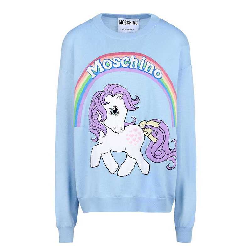 Moschino My Little Pony Women Long Sleeves Sweater Sky Blue
