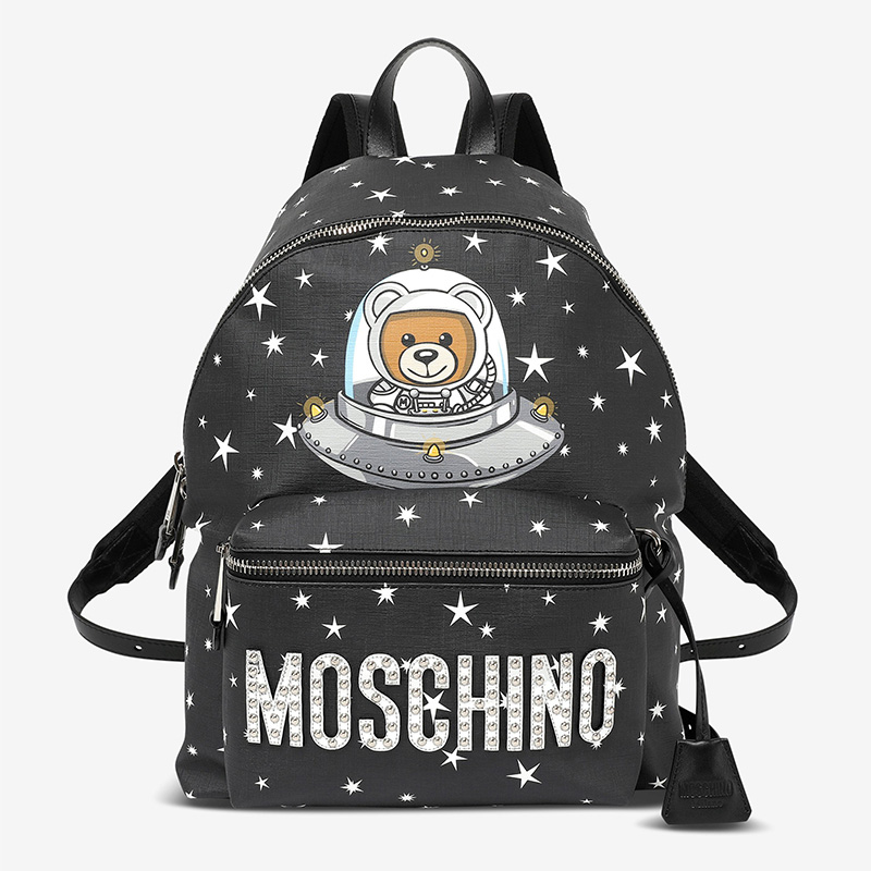 Moschino Ufo Teddy Women Large Leather Backpack Black